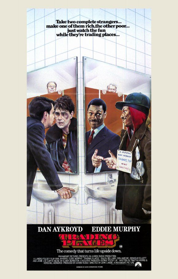 Trading Places Starring Eddie Murphy Dan Aykroyd Ralph Bellamy Don Ameche A Snobbish Investor And A Wily Trading Places Movie Posters Eddie Murphy Movies