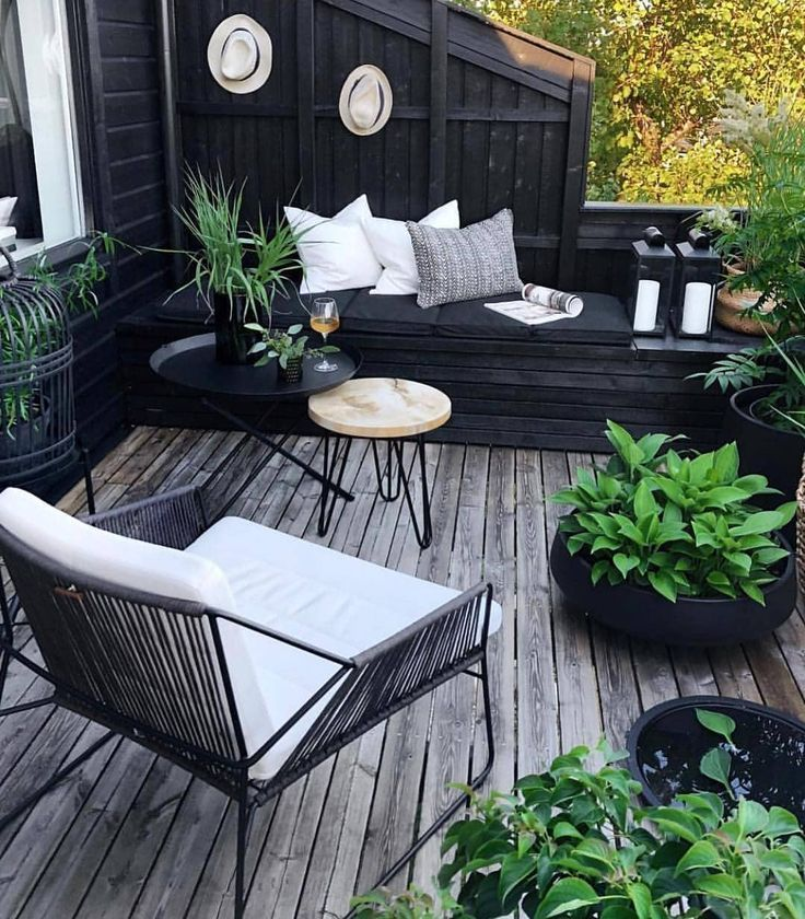 "cozi homes on Instagram: ""Love the contrasts of the black and green. 💚 What do you think of this more classy patio setup? 🍷🌳 (@bythereseknutsenno) . . ⇢ follow us…"""