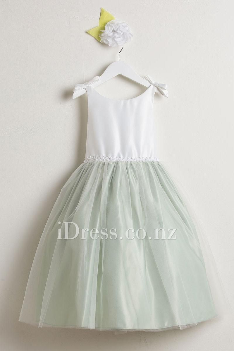 Elegant Two Tone Bow Short Floral Flower Girl Dress