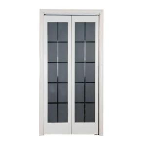 Pinecroft 737 Series 30 In X 80 1 2 In Prefinished White Colonial Glass Universal Reversible French Doors Interior Garage Door Design Bifold Doors