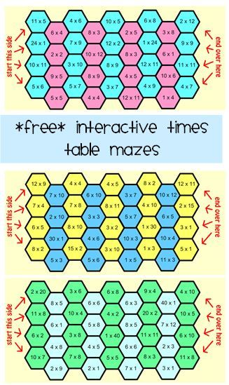 Free Interactive Times Tables Mazes   Maths Resources   Pinterest ...