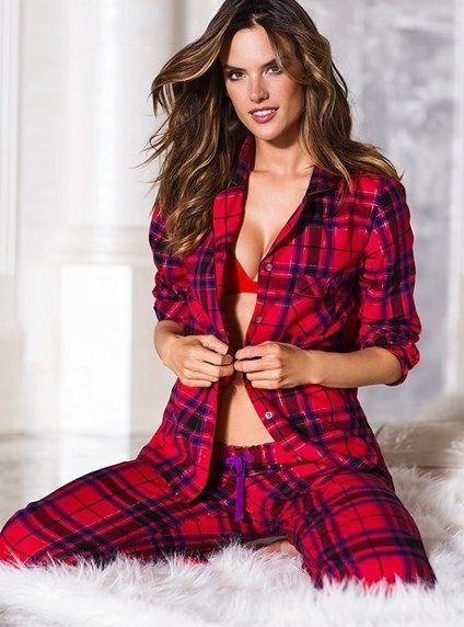 2d2cbbc269 Victoria s Secret The Dreamer Red Black Purple Plaid Flannel Pajama Set S P   VictoriasSecret  PajamaSets