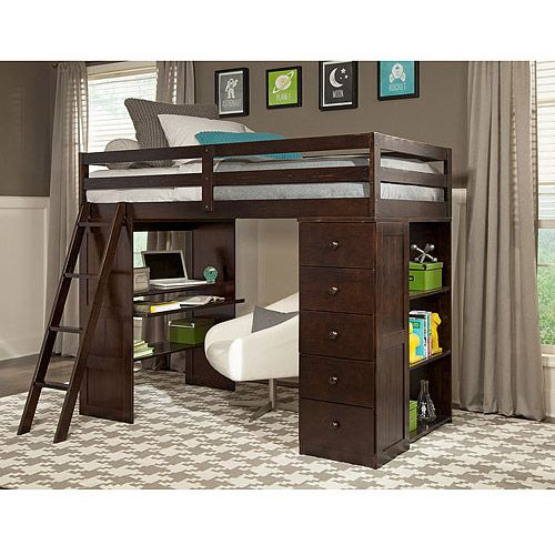 Canwood Skyway Twin Loft Bed With Desk Storage Tower Espresso Kids