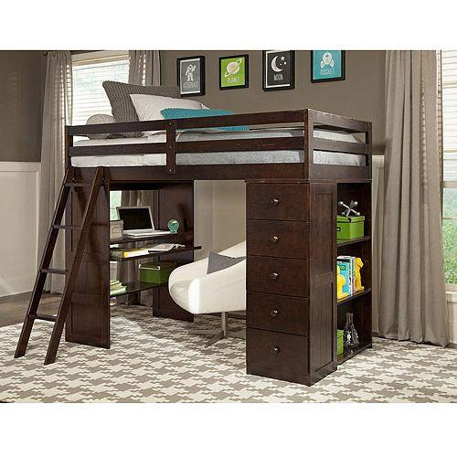 canwood skyway twin loft bed with desk u0026 storage tower espresso kidsu0027 u0026