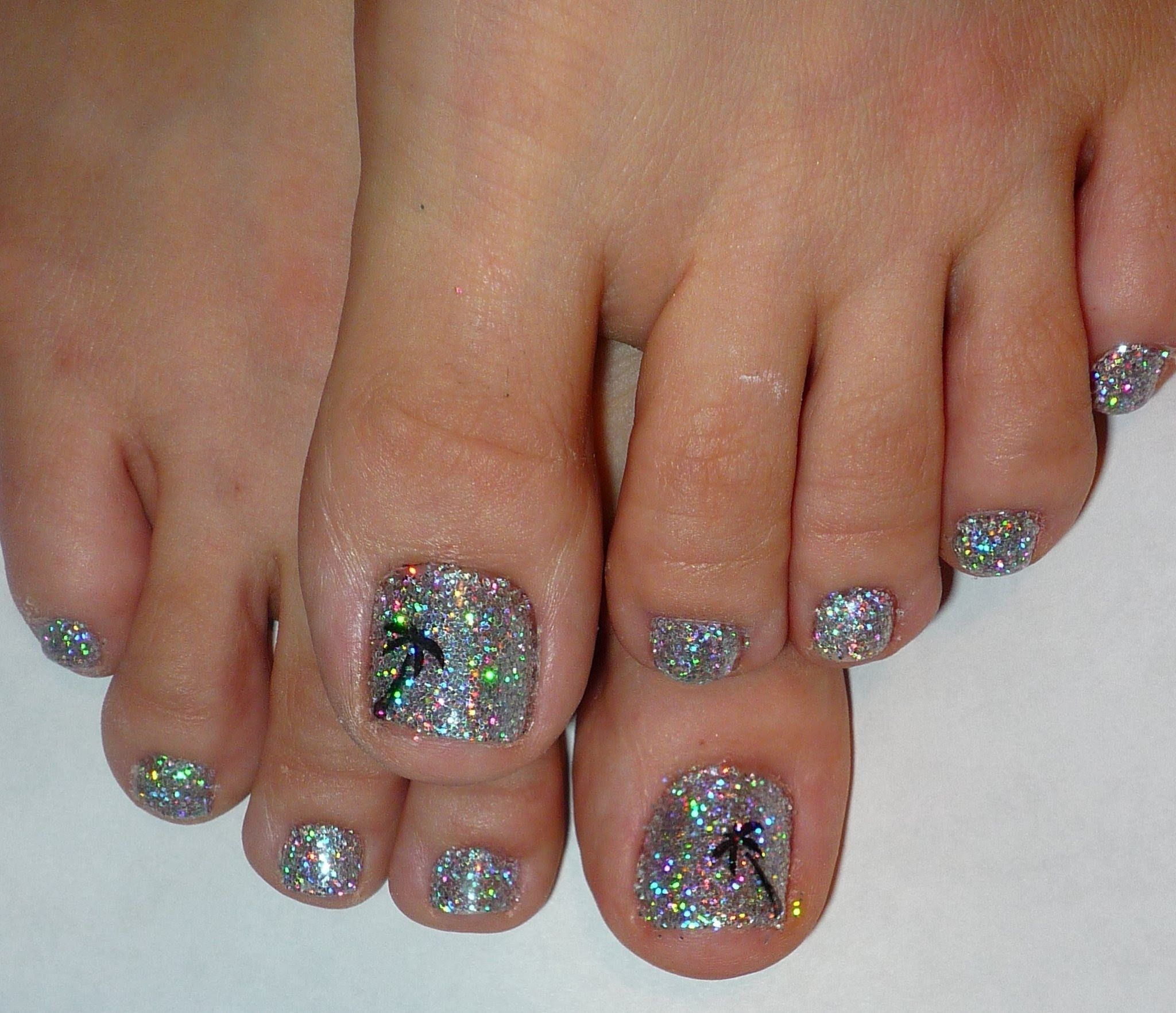 "Rock Star Toe Nails #2 ""Palm Tree & Holographic Glitter ..."