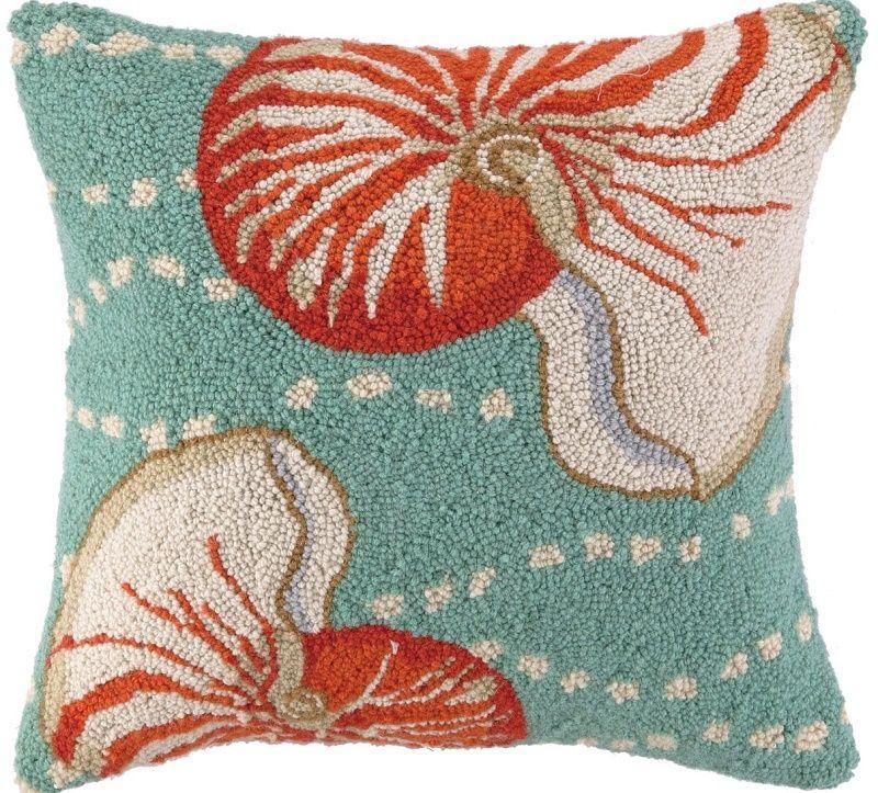 Floating Nautilus Hook Pillow: Beach House Decor, Coastal Decor, Nautical Decor, Coastal Living Boutique, Tropical Decor