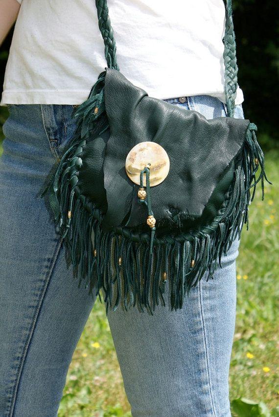 Hirschleder Leder Fringe Handtasche dunkelgrün