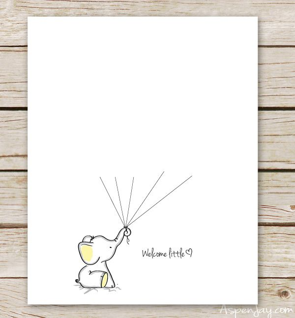 FREE elephant guest book printable- SUPER cute! I want this at my baby shower! It comes in blue, pink, and yellow!