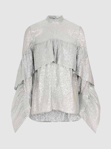 6b35cf739b7d52 PETAR PETROV - Elvia Metallic Silk Ruffle Blouse   Fashion   Ruffle ...