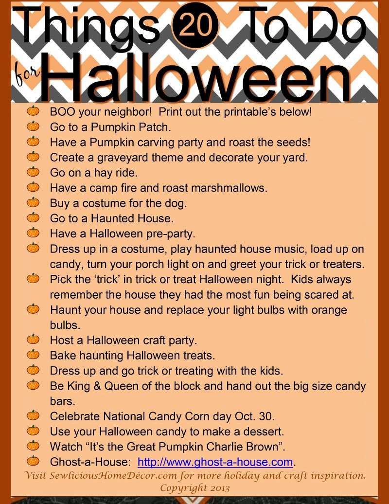 20 Things To Do For Halloween! + Free Printables!   Free printables