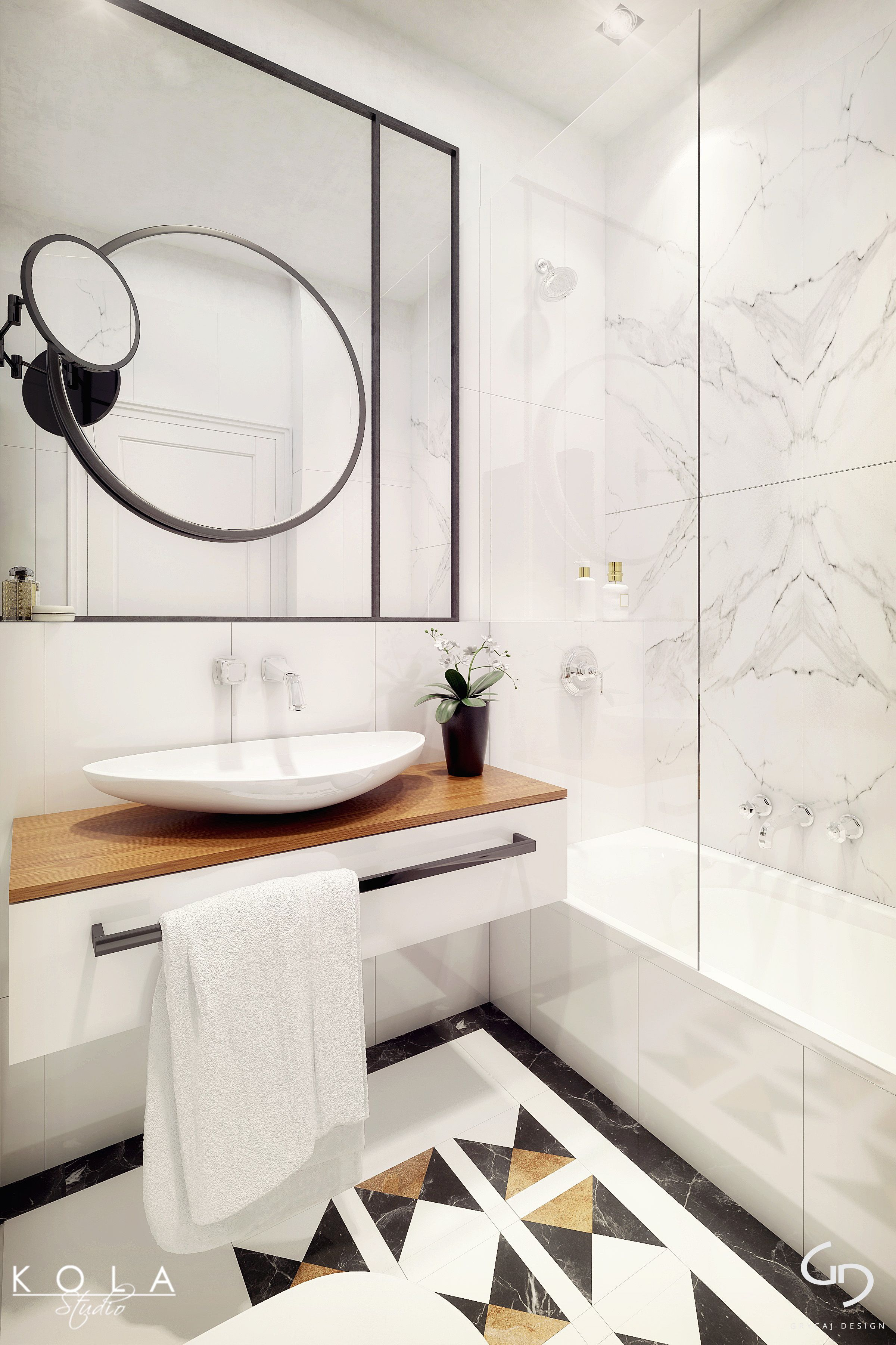 Stylish, art deco inspired bathroom with different color marble ...