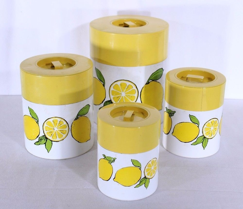 VTG Mid Century Kitchen Canister Set 4 Tin Metal Yellow ...