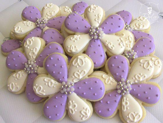 One Dozen Elegant Flower Decorated Sugar Cookies For