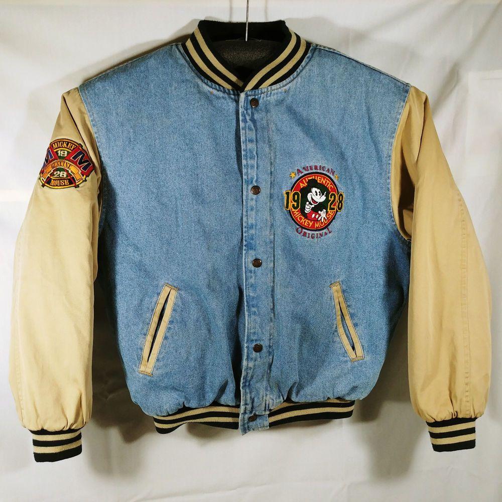 Disney Varsity Jacket Medium 1928 Authentic Mickey Mouse Blue And Brown Denim Varsity Jacket Jackets Clothes [ 1000 x 1000 Pixel ]