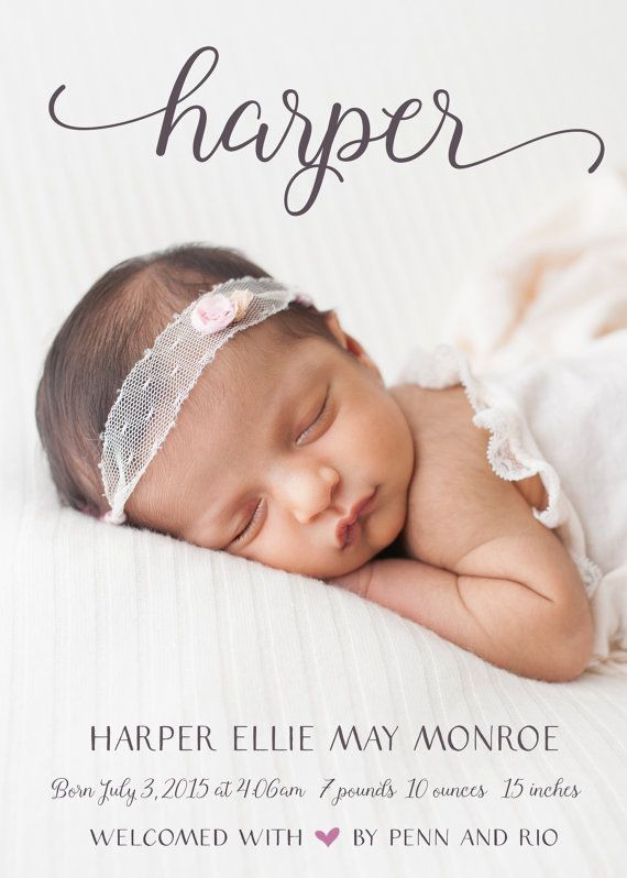 Exquisite Welcome Basil Girl Photo Birth Announcements in Basil – Announce Birth of Baby Girl