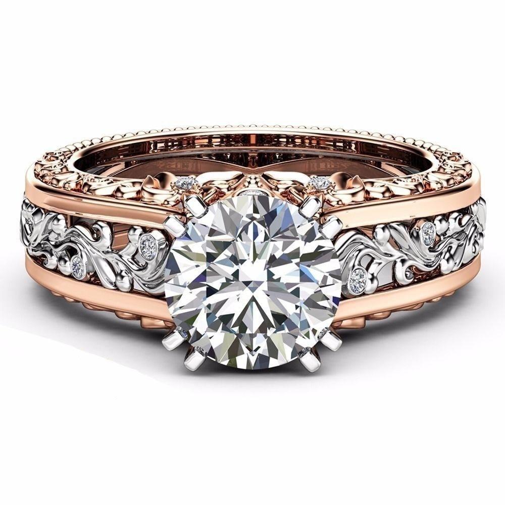 Intricate Vintage Rose Gold & Silver Ring Platinum