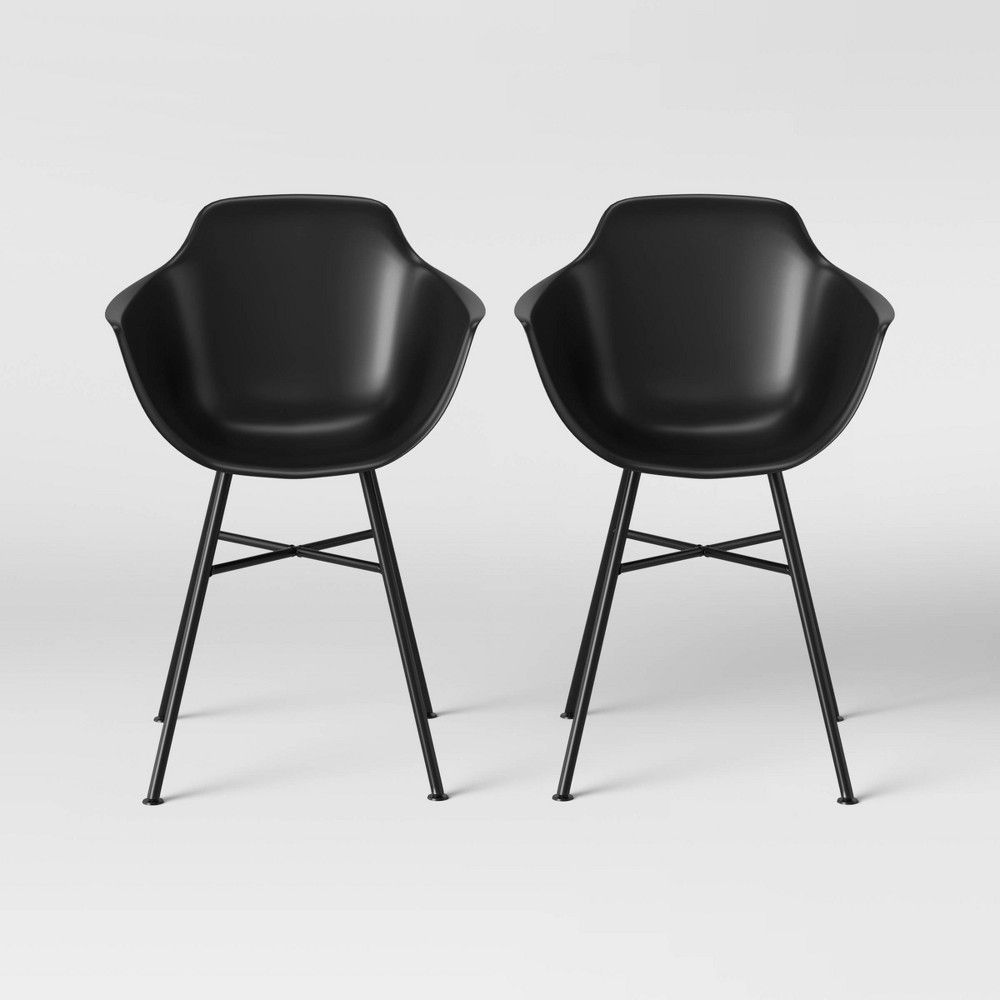 Set Of 2 Miller Barrel Dining Chair With Metal Legs Black