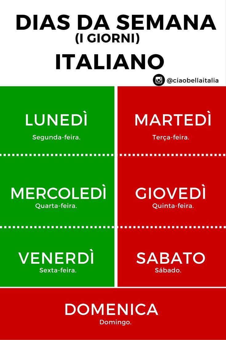 dias da semana em italiano i giorni infográfico pequeno