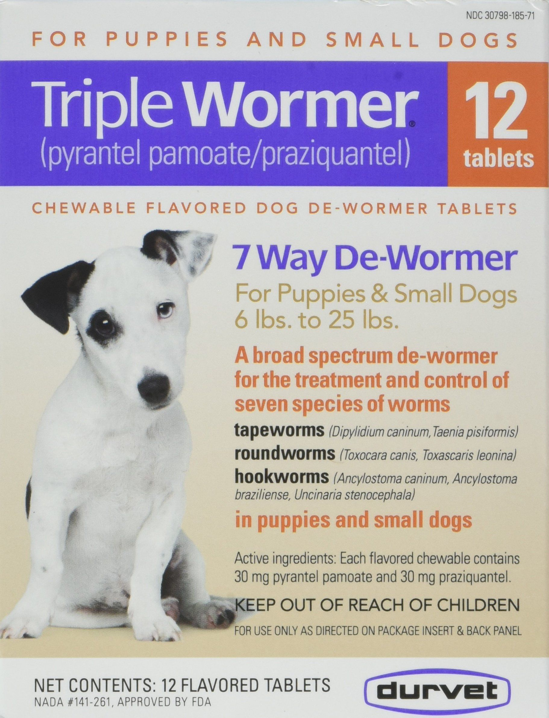 Durvet 12pack triple wormer tablets for puppies and small