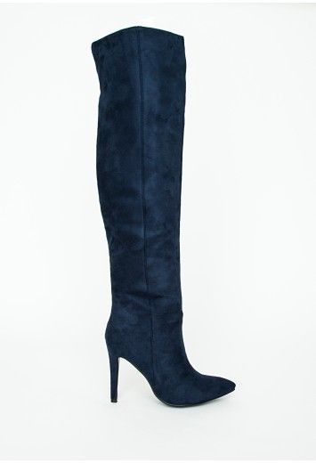 0f84f7cc1a839 Kate Faux Suede Knee High Heeled Boots Navy | Packed Party Click ...
