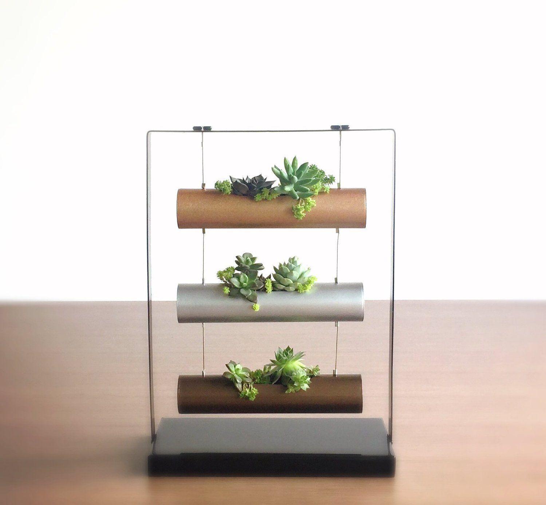 Amazon.com : Living Art Vertical Garden Succulent Cactus Small Plants Herb Planting Cylinder System Unique Gift Decor : Patio, Lawn & Garden