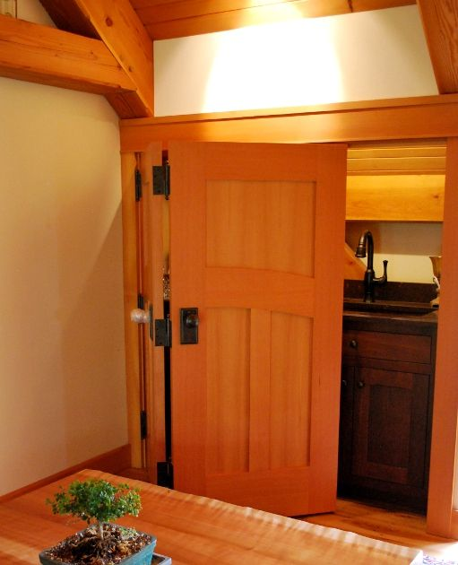Marvelous Folding Douglas Fir Doors Collapse To Reveal A Mini Bar In The Loft Of A  Kentucky Timber Frame Home.