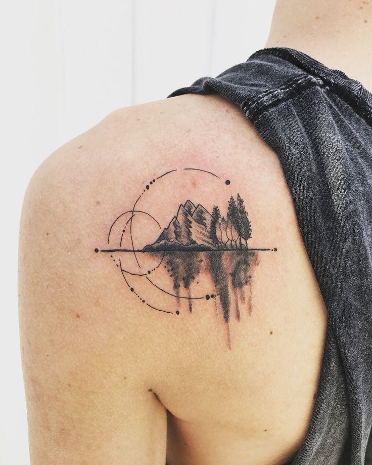 Geometric mountain tattoo  Geometric mountain tattoo