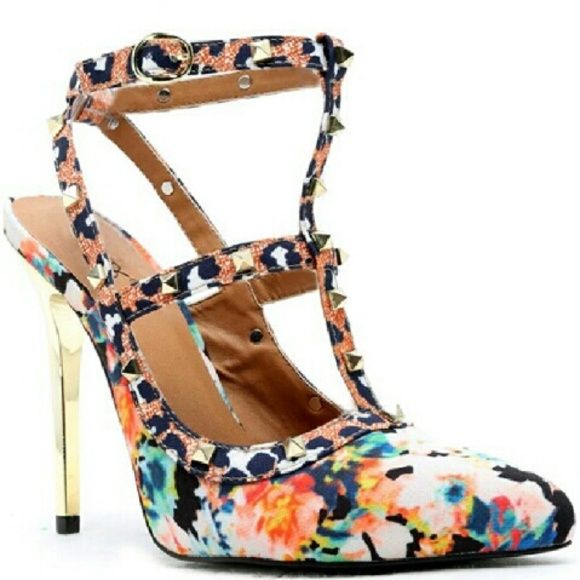 "Rand Pumps Multi print design, studded strap, metallic gold heel. Heel height approx 5"" Run true to size Shoerepublic Shoes Heels"