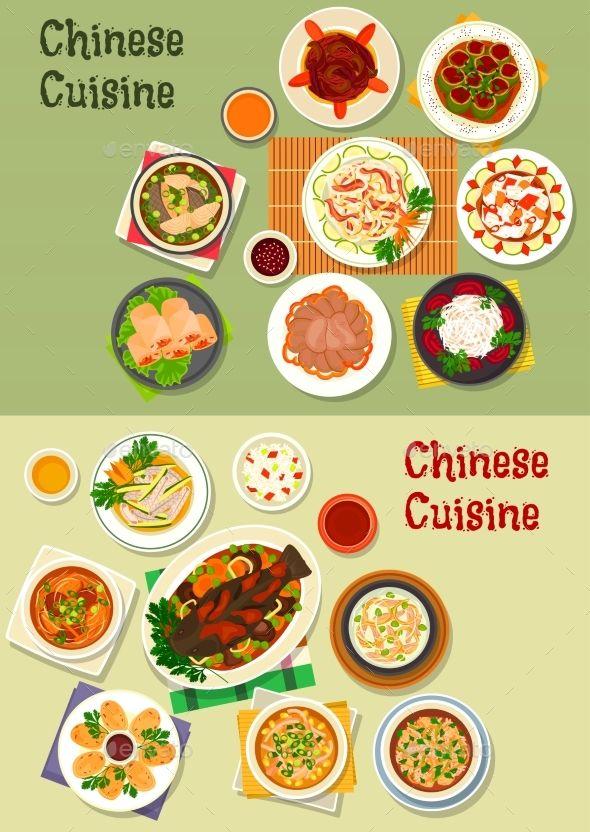 Chinese Cuisine Icon For Oriental Menu Design Makanan