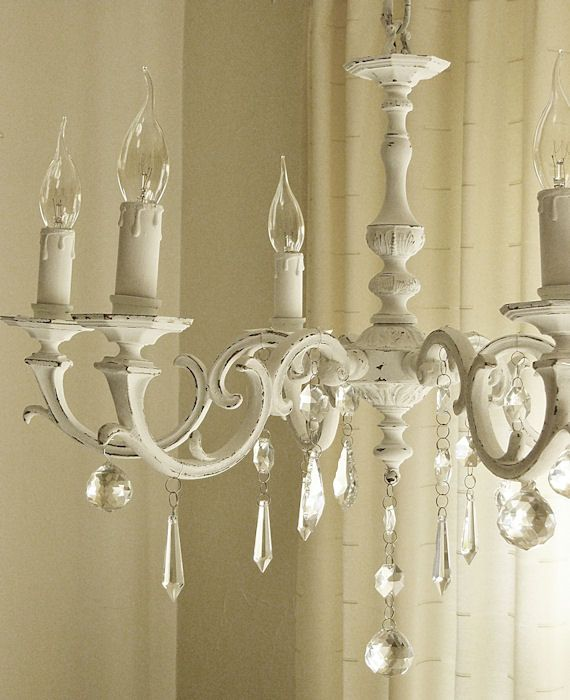 Painted Chandeliers Before And After Shabby Chic Inspired