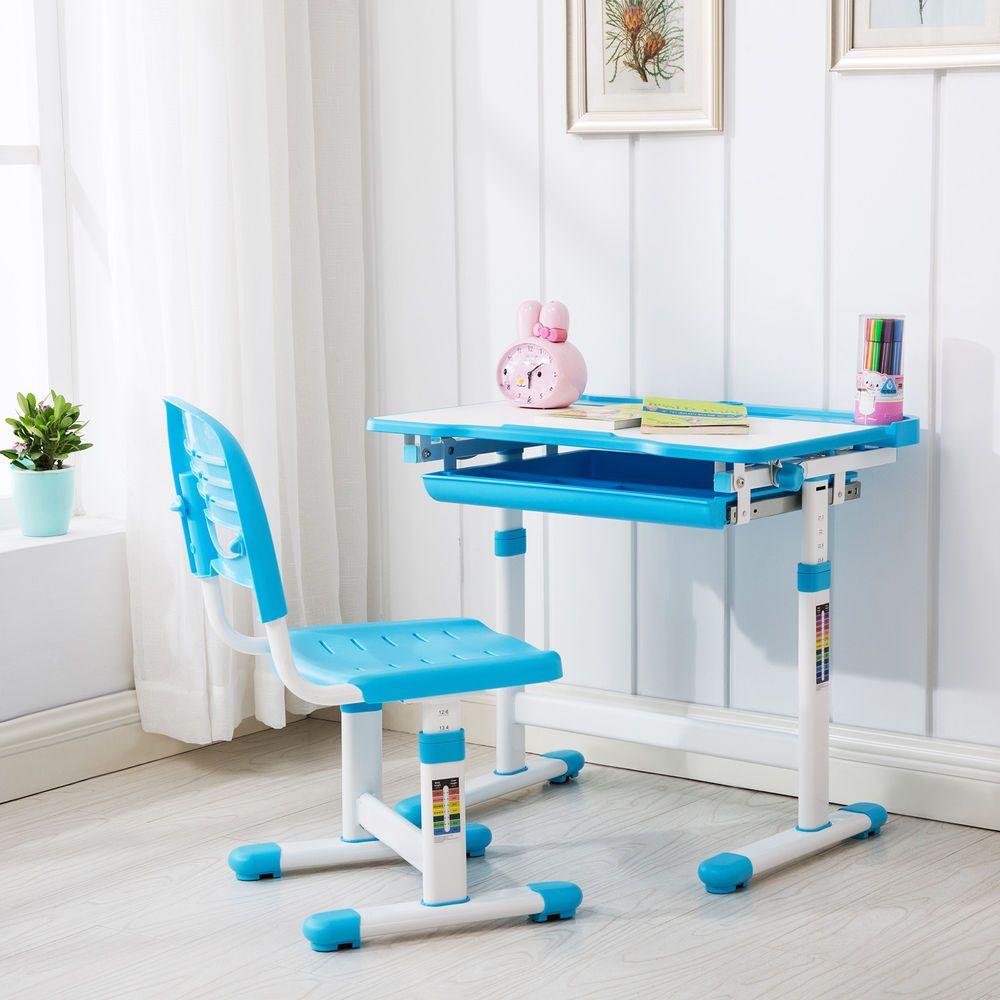Blue adjustable childrens desk and chair set child kids