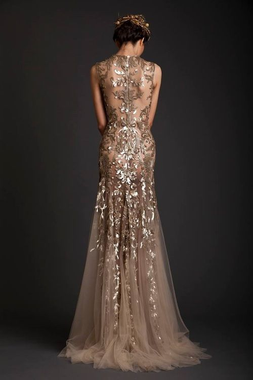 White And Gold Wedding Bridesmaid Dress Elegant Glamorous Gorgeous Embellished Krikor Jabotian
