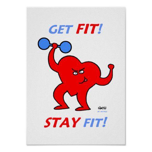 Motivational Heart Fitness Cartoon Gym Poster | Zazzle.com