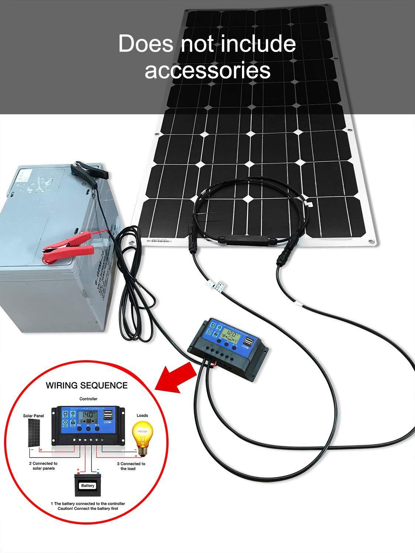 DOKIO Solar Panel 100W 12V/24v Monocrystalline Flexible