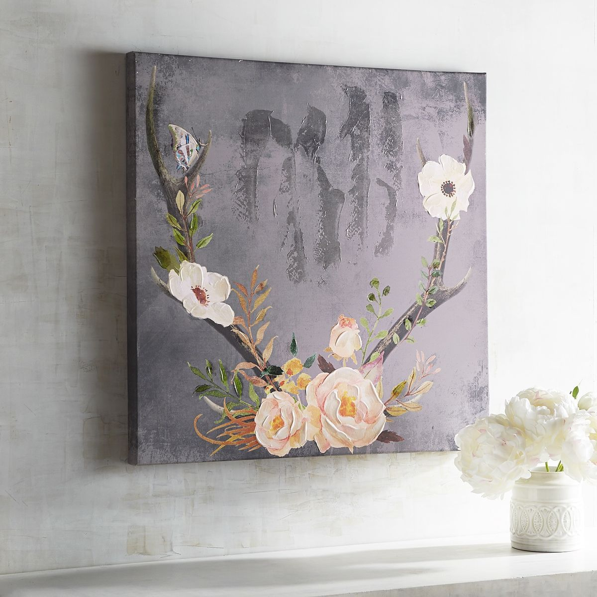 Multi Colored Floral Antlers Art   Blush   Canvas   Home Decor Wall Art  Ideas