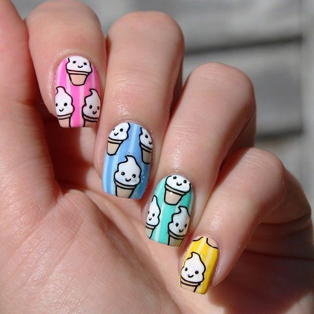 Funny Ice Cream Nail Art Design - Funny Ice Cream Nail Art Design Cute Nail Designs Pinterest