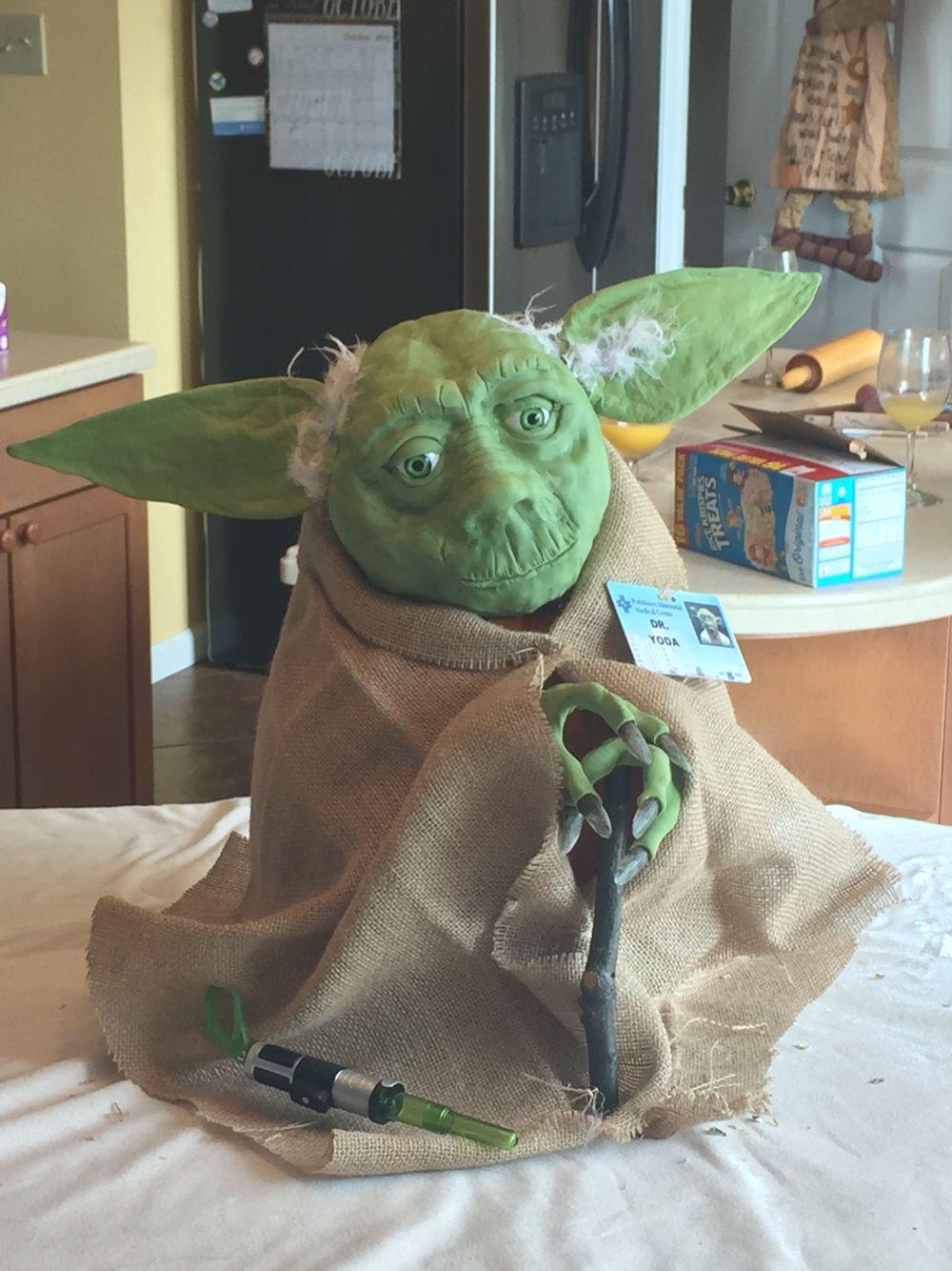 Yoda it is! Body is a pumpkin, head made from Rice Krispie ...