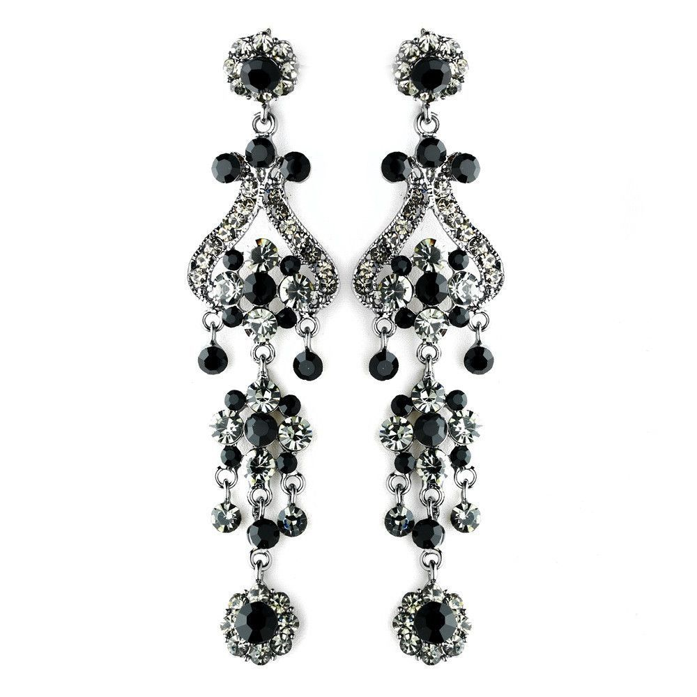 Antique Silver Black Earring Set 1033