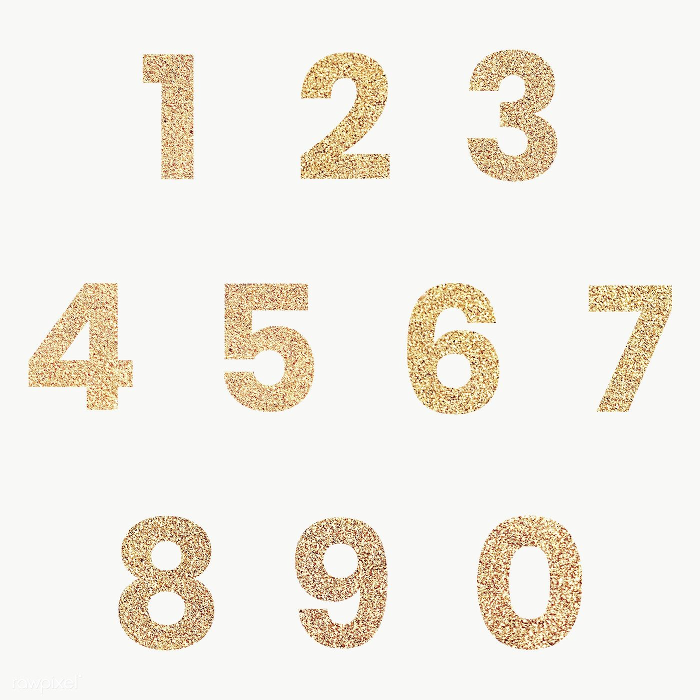 Glitter number collection transparent png free image by