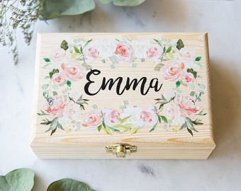 Flower girl or bridesmaids gift box jewelry box personalized name flower girl or bridesmaids gift box jewelry box personalized name wooden box for wedding bridal negle Image collections