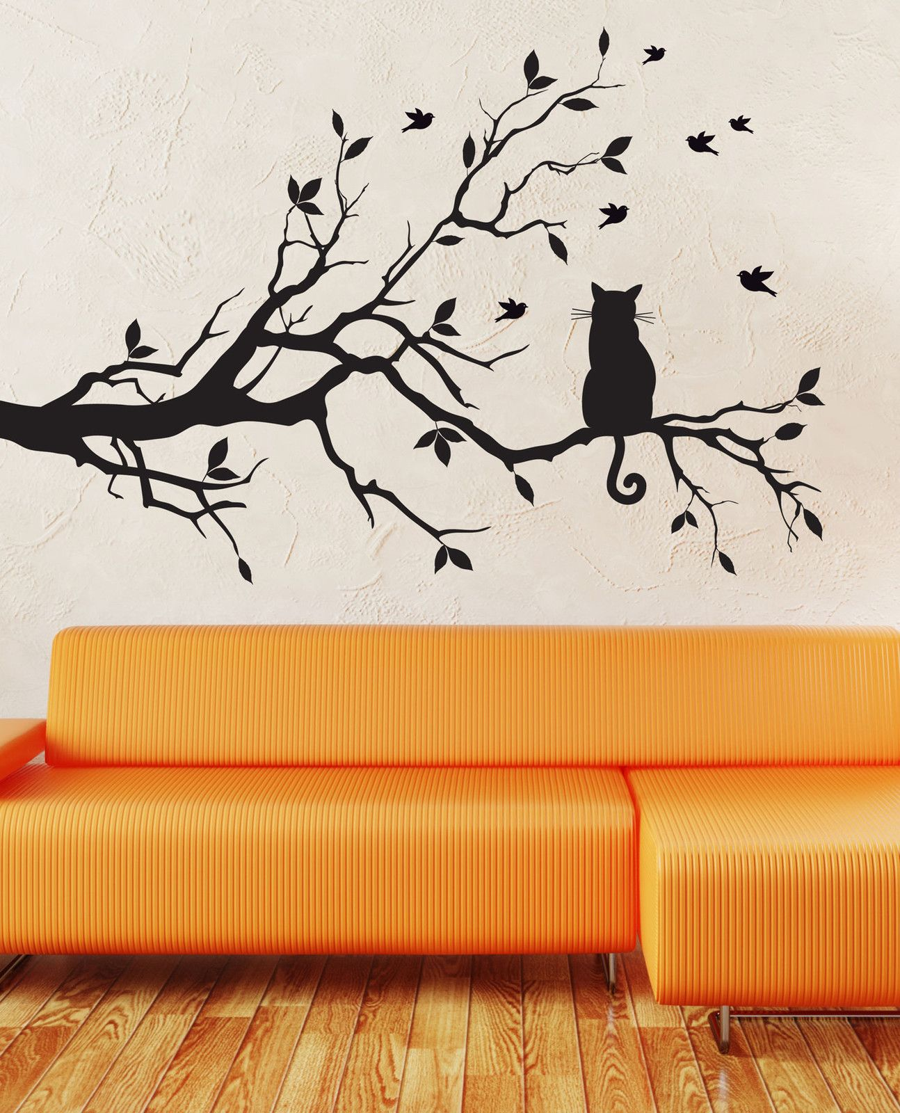 Wall Art Decal Sticker Birds And Cat On Tree Branches Decal Wall Art Tree Wall Art Wall Art