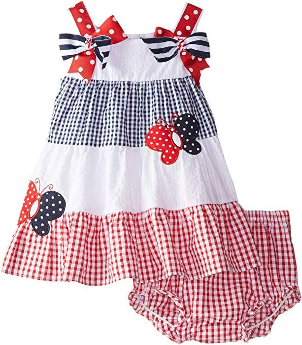 22f7dd6ac7ba Amazon.com: Rare Editions Baby Baby Girls' Colorblock Seersucker Dress, Red/ White/Blue, 3-6 Months: Clothing