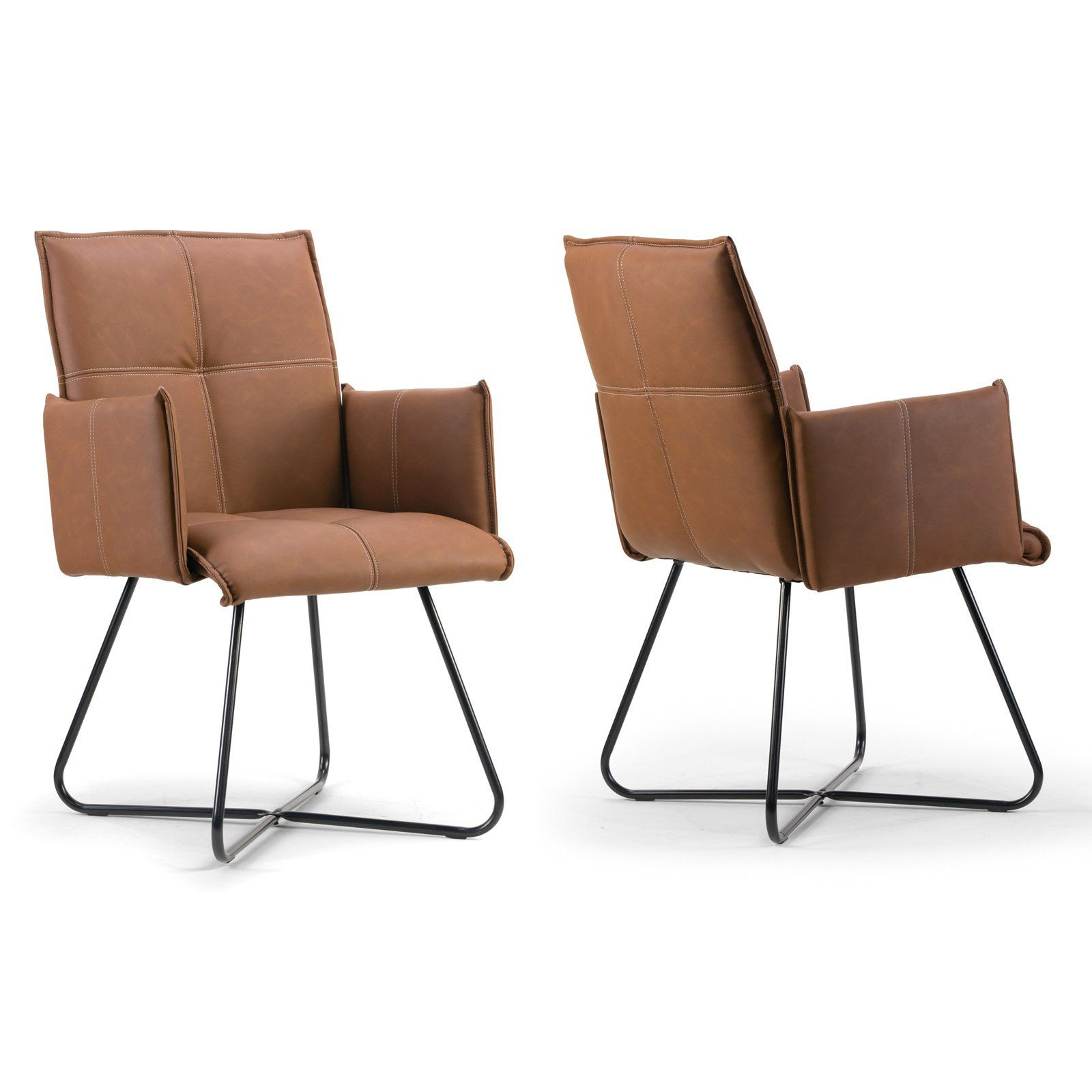Enjoyable Glamour Home Ambel Modern Dining Arm Chair Set Of 2 Uwap Interior Chair Design Uwaporg