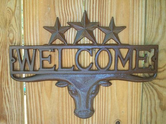 Texas longhorn outdoor metal wall art | Cast Iron Longhorn ...