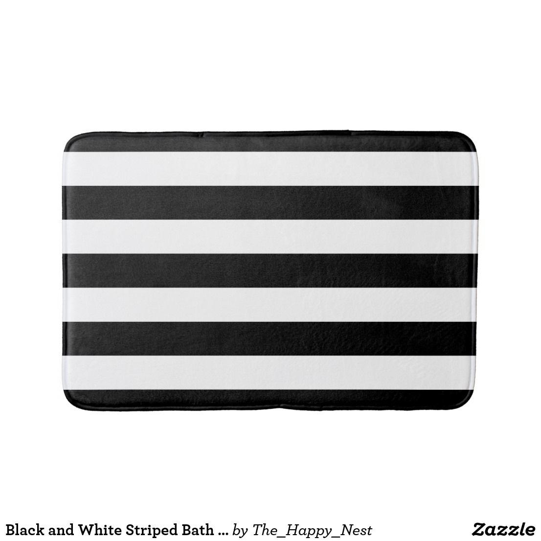 Monogram black and white art deco bathmat zazzle products