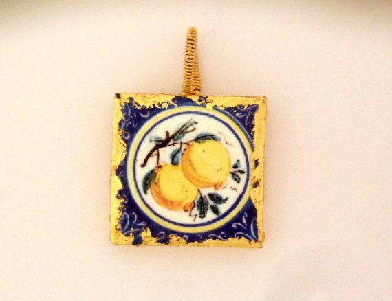 Ciondolo siciliana con limoni in pietra lavica -Memories della Sicilia!  oro riempito ciondolo in argento - ciondolo quadrati - cauzione filo avvolto - per lei