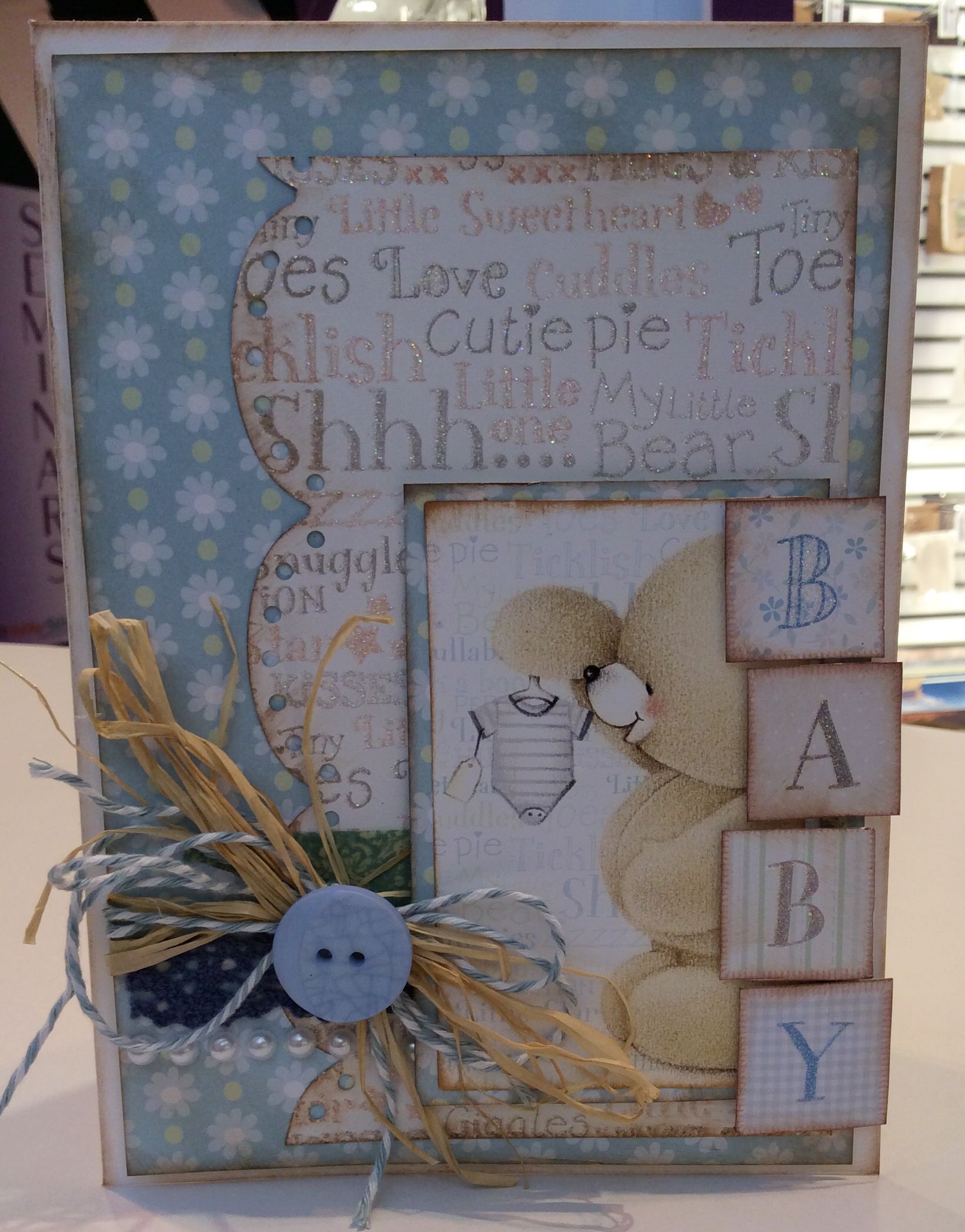 A new baby card made for a very special friend using über cute forever friends new arrival range