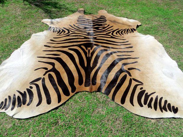 Black Cream Brown Zebra Print Printed Cowhide Skin Rug Steer Cow