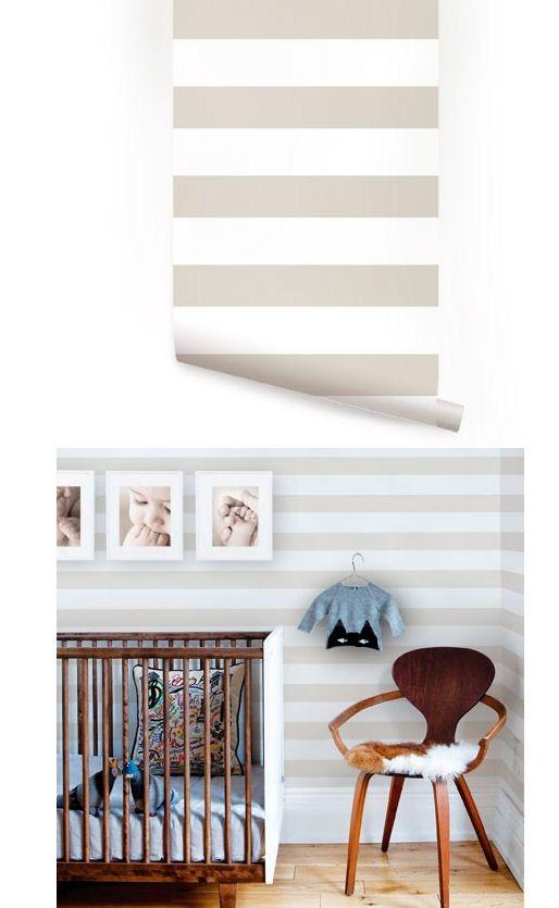 Horizontal Stripe Gray Peel And Stick Wallpaper Peel And Stick Wallpaper Wall Wallpaper Horizontal Stripe