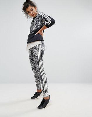 53018a6f3886e2 adidas Originals Farm Floral Placement Print Leggings | Lowson Blvd ...
